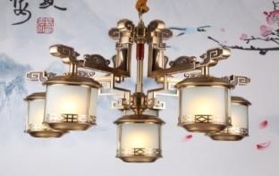 东韵达观P9002-5+1铜本色室内吊灯