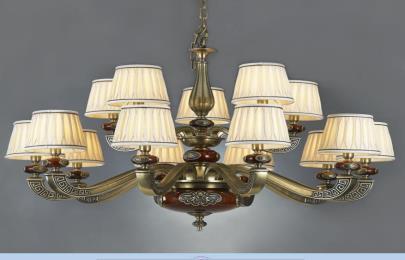 星豪铜府现代MD3108-10+5铜本色吊灯