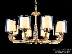亿美佳现代室内68093-8古铜+玻璃罩吊灯