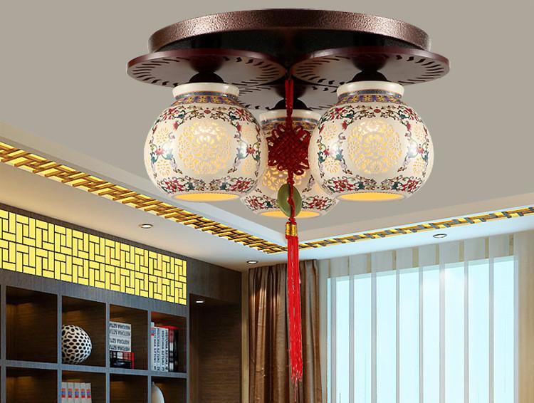 中式青花瓷茶楼吸顶灯