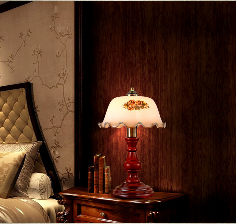 美式玻璃灯罩卧室台灯