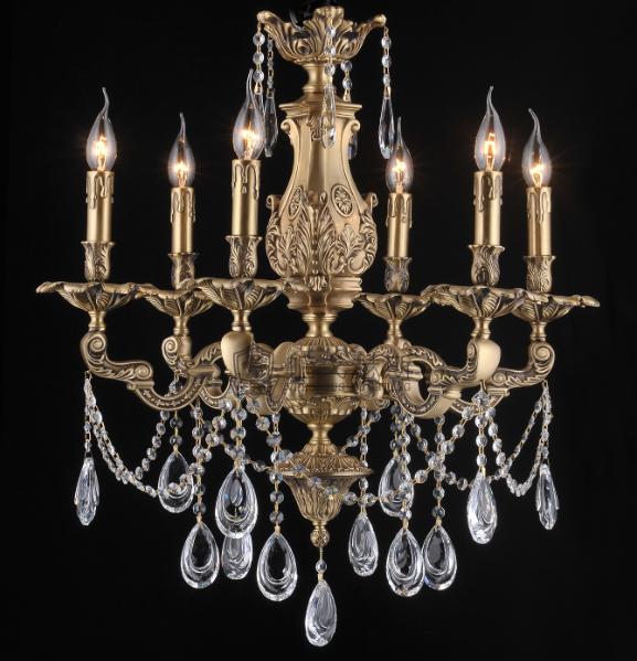 维利亚全铜水晶蜡烛灯 95609/6铜灯法式吊灯 欧式法式古堡吊灯