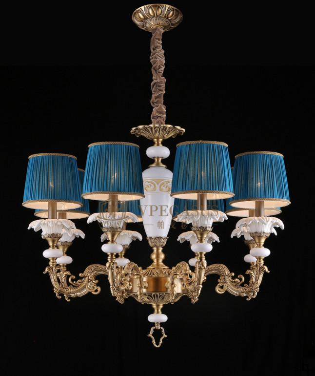 维利亚全铜法式95938/12+8+4吊灯 铜灯 陶瓷铜灯