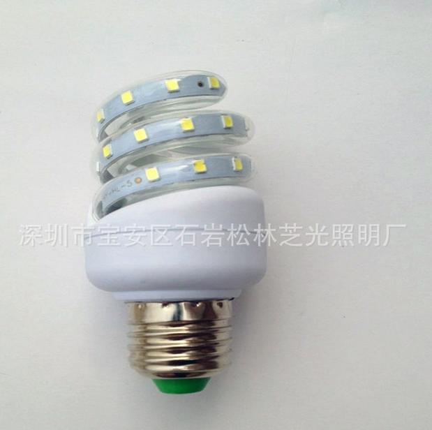 LED户外路灯室内筒灯光源螺旋5瓦节能灯SMD2835系列