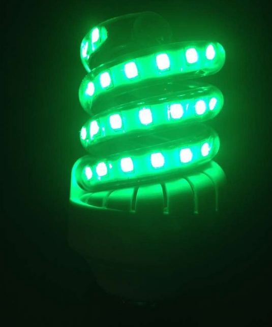 LED横插路灯户外酒店亮化工程光源螺旋7W绿光2835贴片节能灯