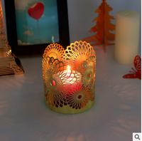 金属烛台 蚀刻工艺品烛台 电镀酒吧烛台 圆筒形电镀酒店浪漫烛台