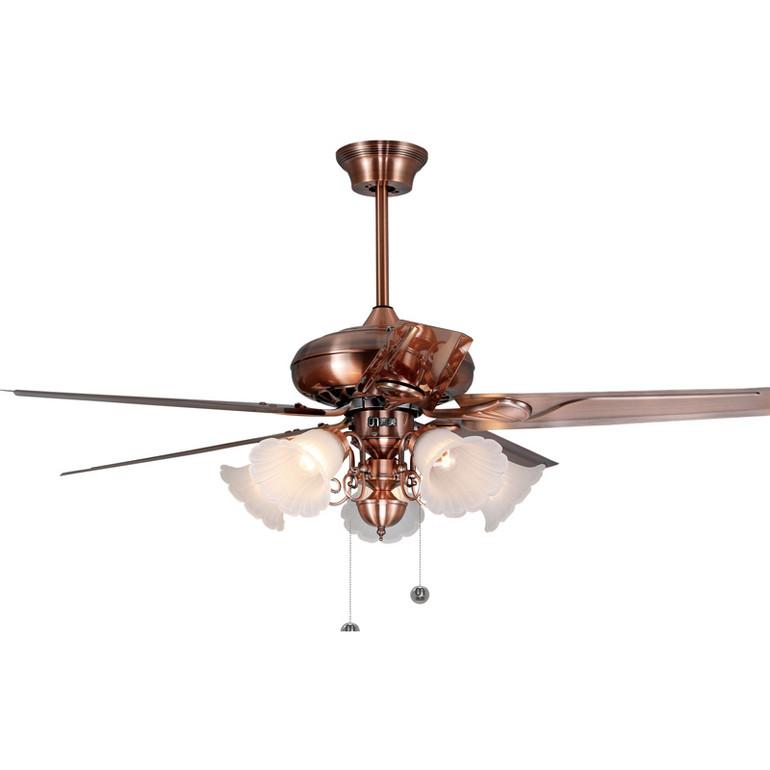 古典古铜色5片优质铁叶客厅70W风扇灯