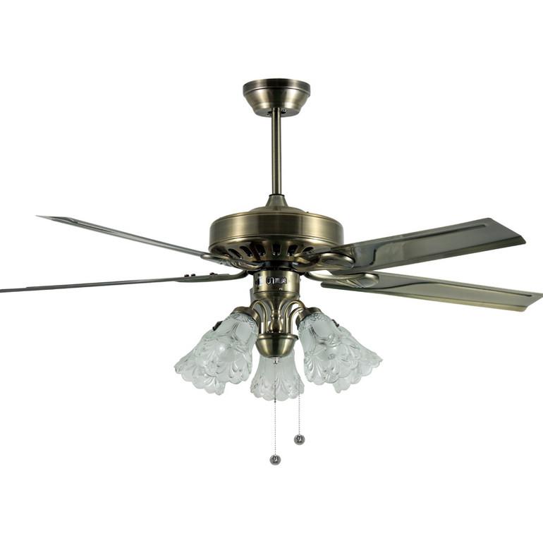 优雅古铜色5片优质铁叶客厅75W风扇灯