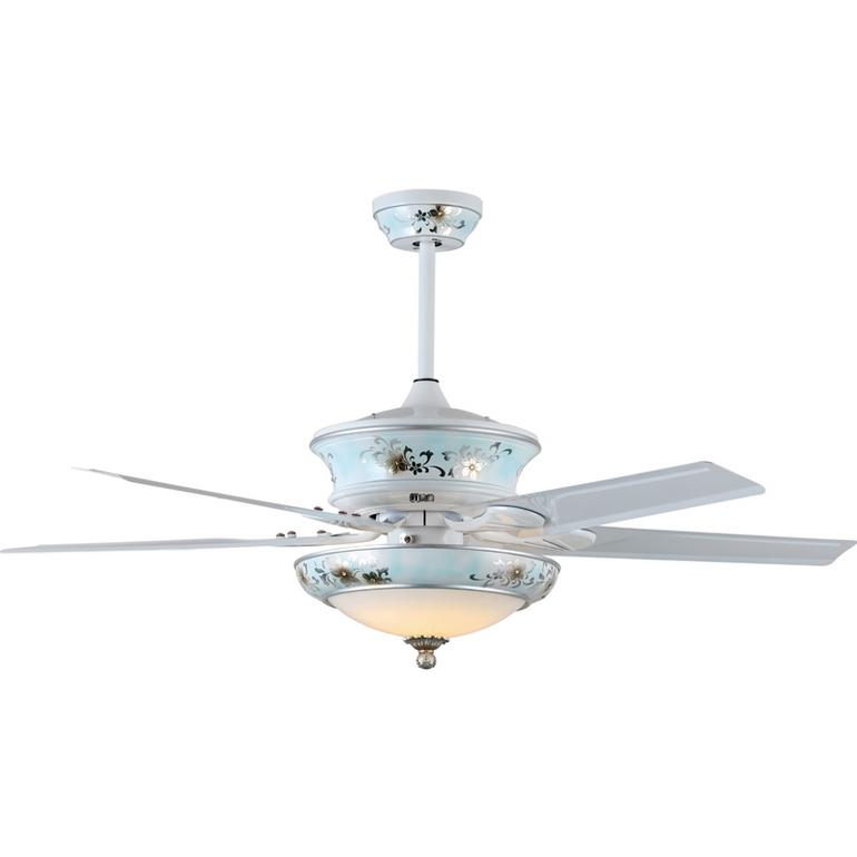 欧式优雅70W铁叶5片银花树脂风扇灯