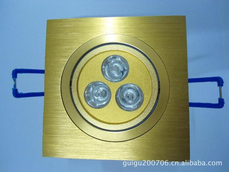 LED天花灯方块散件 3*1W全套金色外壳