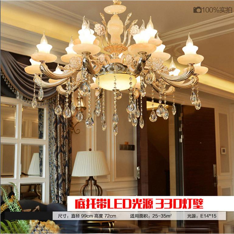 欧式锌合金玫瑰牡丹款吊灯K5机磨水晶复式仿玉石LED蜡烛灯