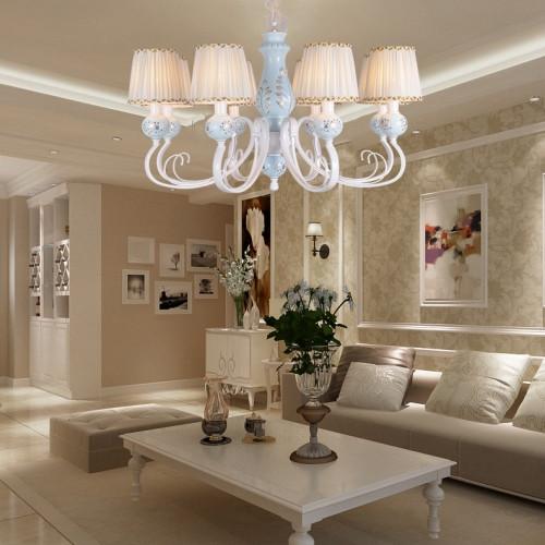 地中海 田园风格 卧室 客厅 大厅 白色烤漆铁艺 陶瓷吊灯