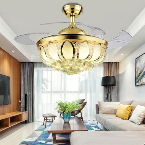 莲花小树叶水晶风扇灯纯铜电机超强静音LED吊扇灯