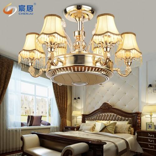 LED负离子风扇灯欧式餐厅客厅包间空气净化吊扇灯