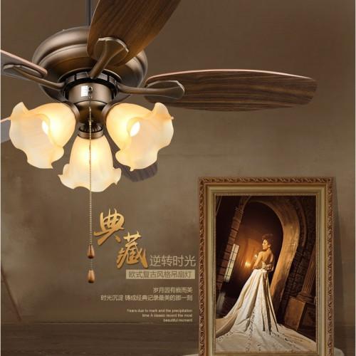 阿理灯灯 小美式风扇灯吊扇灯咖啡色5叶3灯风扇