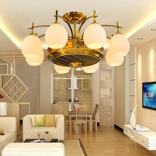 美式陶瓷风扇吊灯LED客厅卧室田园餐厅负离子静音隐形风扇灯具