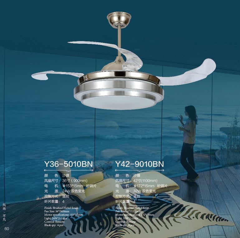 风凡欧式客厅圆形led遥控风扇灯