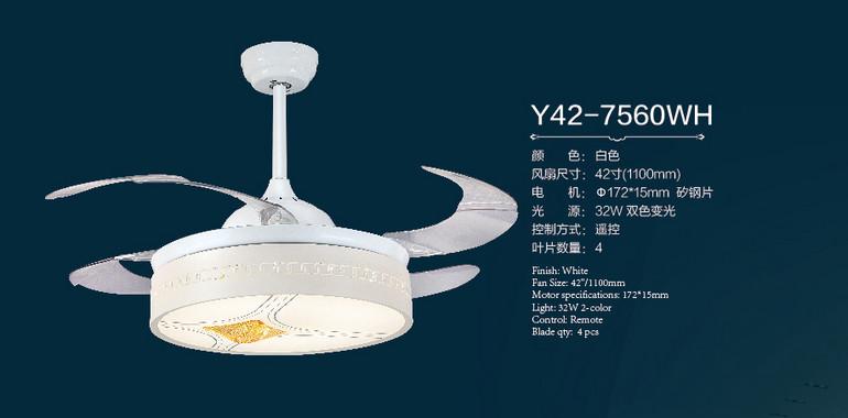 风凡欧式客厅白色led遥控风扇灯
