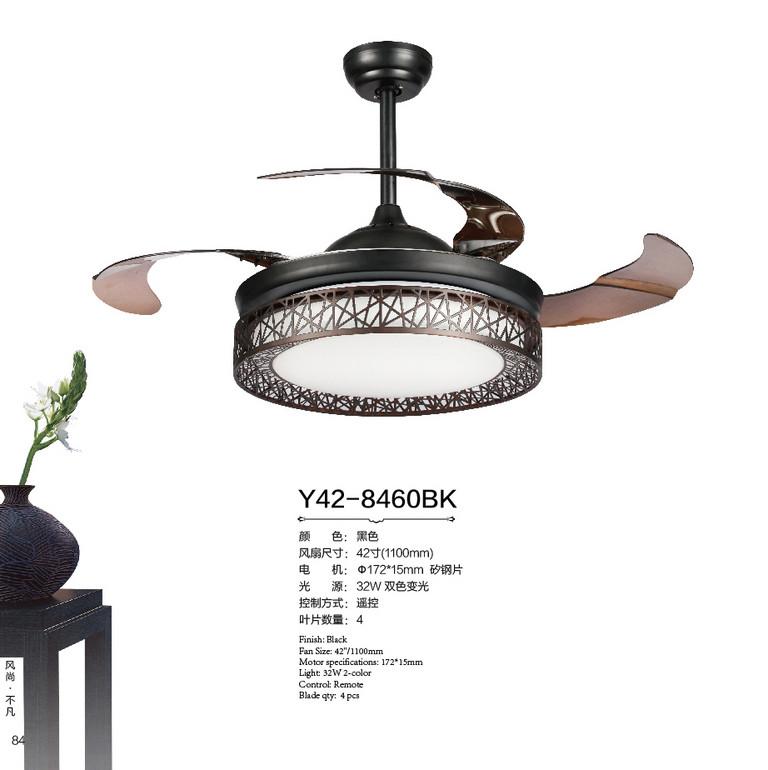 风凡欧式客厅黑色圆形led遥控风扇灯