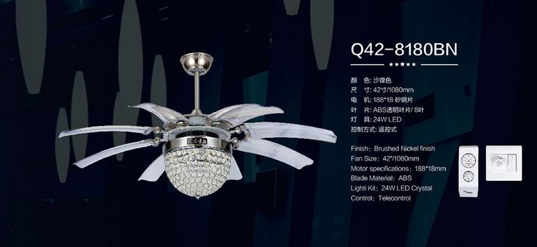 风凡欧式客厅圆形水晶led遥控风扇灯