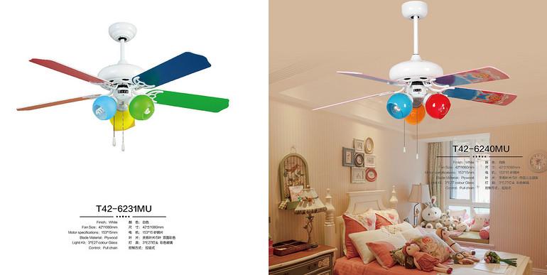 风凡欧式客厅三头彩色led遥控风扇灯
