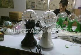 现代室内声控LED七彩水晶旋转3W舞台灯