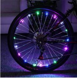 广束自行车铜线灯串2米20装饰圣诞骑行发光LED四彩铜线灯串