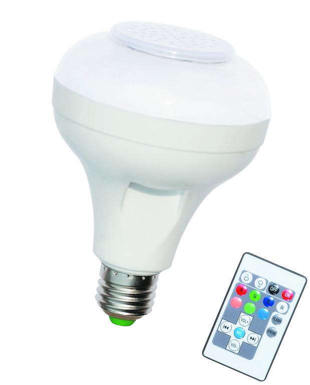白、红、绿、黄6W红外遥控三合一蓝牙灯泡