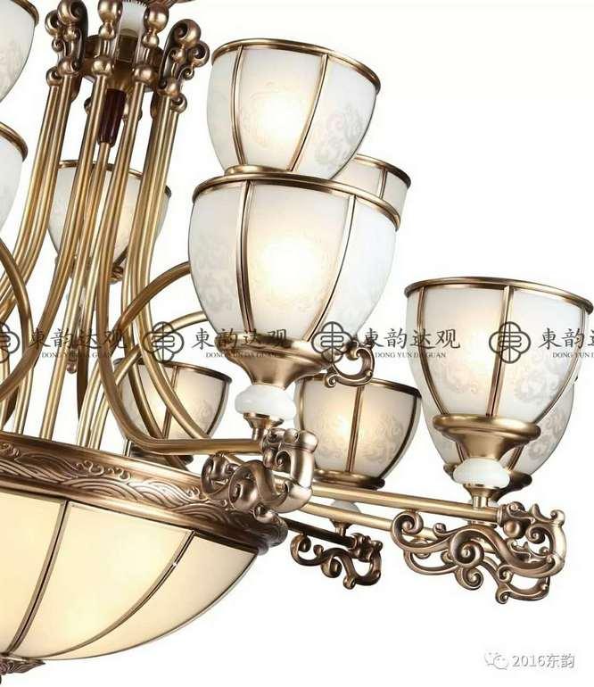 东韵达观P9011现代铜本色室内新中式吊灯