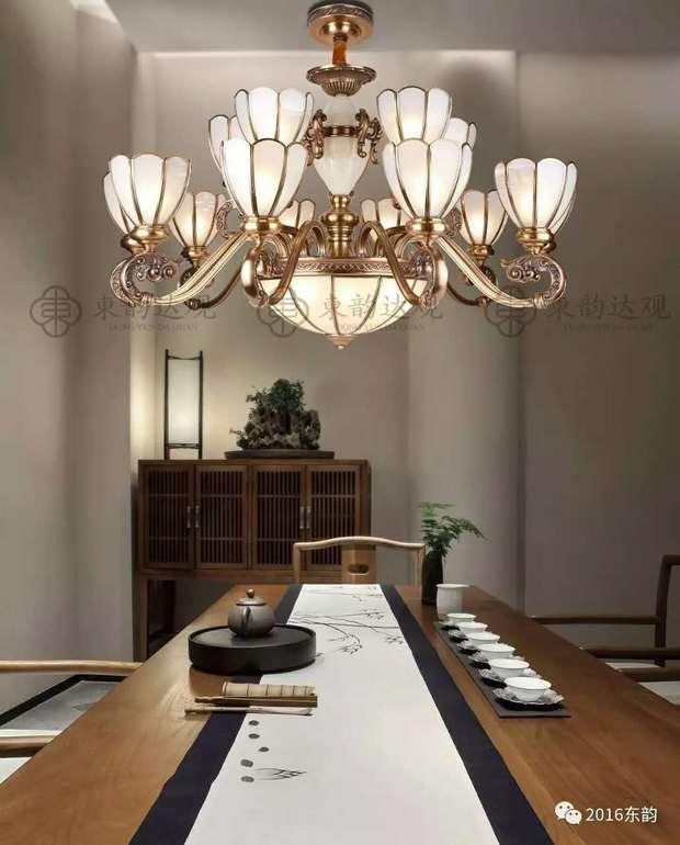 东韵达观P9016室内铜本色新中式吊灯