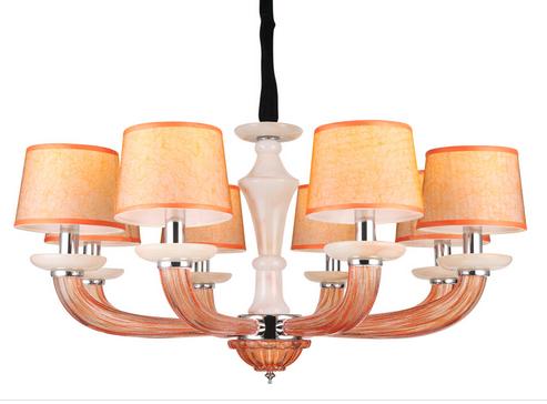 蓝色星空现代室内KX9053/8橙色玻璃吊灯