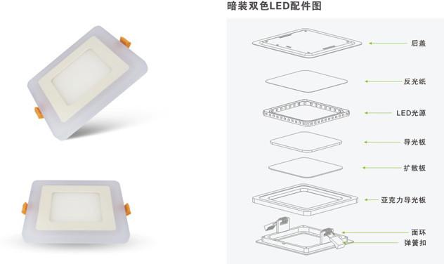 现代简约暗装双色5WLED家居照明面板灯