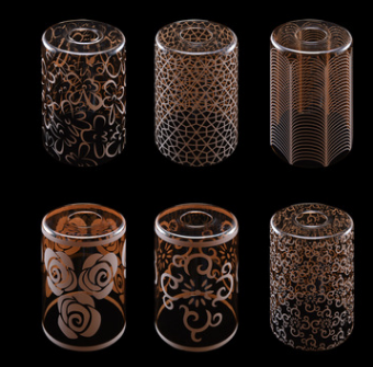 新中式简约玻璃圆形琥珀白丝印120*200灯罩