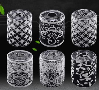 新中式简约玻璃圆形透明高温沙120*150灯罩
