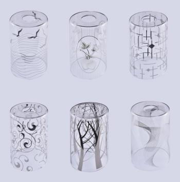 新中式简约玻璃圆形铬色脱镀120*200灯罩