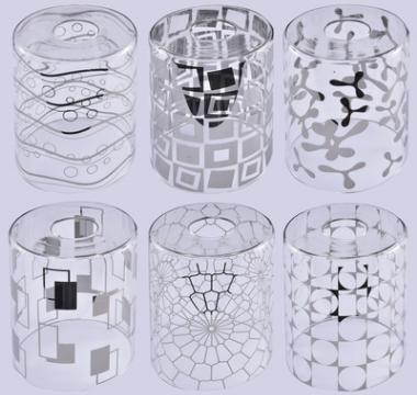 新中式简约玻璃圆形铬色脱镀120*150灯罩