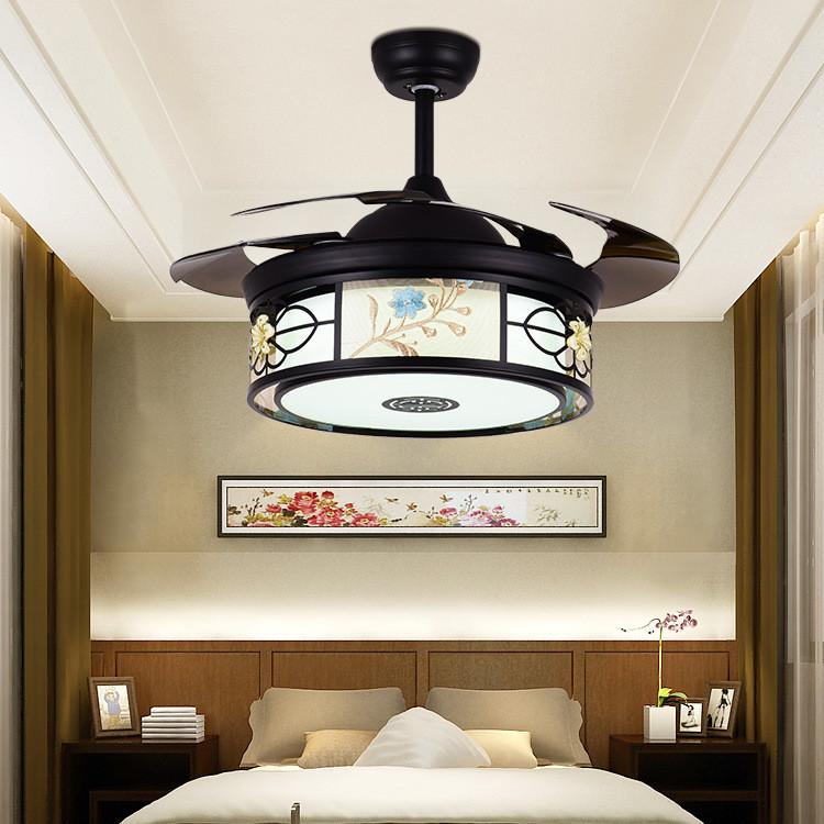 新中式吊扇灯 餐厅客厅卧室隐形风扇灯 黑色家用带遥控风扇吊灯