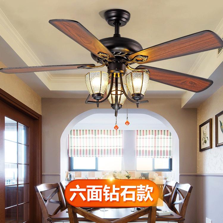 厂家直销餐厅欧式木叶拉绳风扇灯 电风扇创意装饰静音遥控吊扇灯