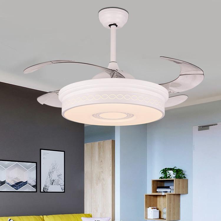白色隐形风扇灯现代简约餐厅客厅灯卧室吊扇灯 led配遥控隐形吊灯
