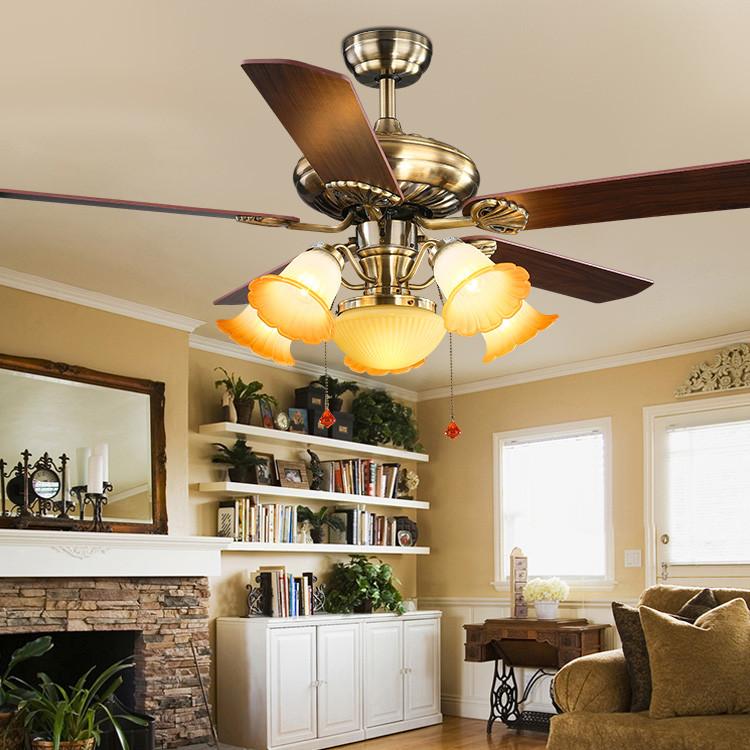 美式风扇灯 木叶遥控复古家用餐厅客厅带灯 装饰吊扇灯 厂家直销