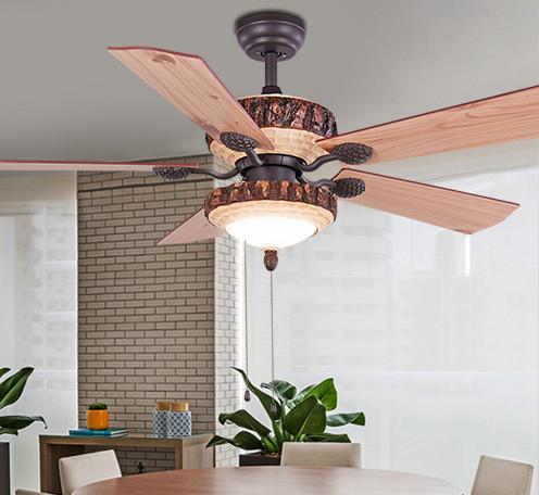 美式风扇灯复古松树树脂灯客厅咖啡厅电风扇吊灯 树脂装饰吊扇