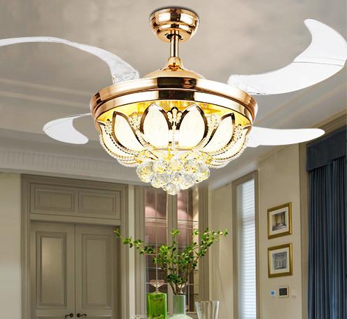 隐形风扇灯法国金色配遥控LED新款莲花罩隐形风扇灯厂家直销吊扇