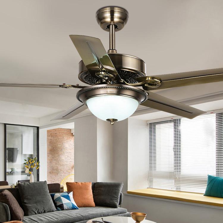 铁艺吊扇灯 客厅餐厅复古遥控风扇灯 铁叶48寸电风扇吊灯厂家直销