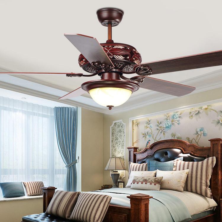 美式吊扇灯 客厅餐厅复古遥控风扇灯 仿古木叶52寸电风扇吊灯厂家