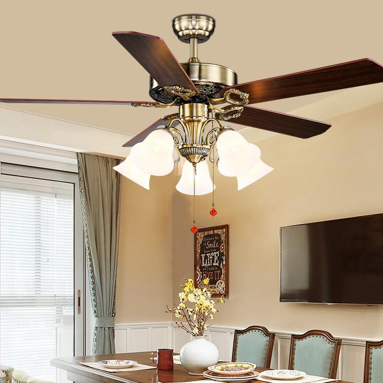 美式风扇灯 餐厅欧式木叶拉绳风扇灯 电风扇创意装饰静音吊扇灯