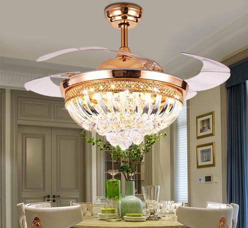 新款欧式餐厅风扇灯 带遥控土豪金色豪华LED水晶隐形吊扇灯批发