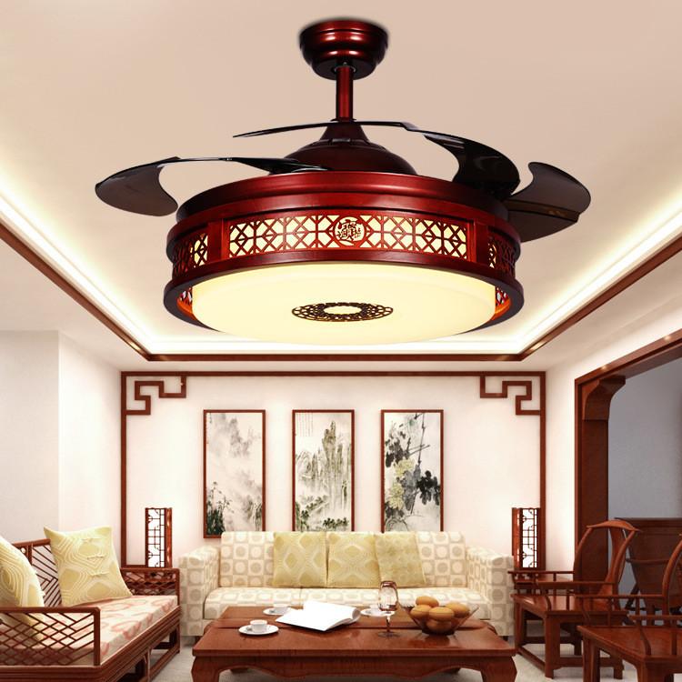 新中式隐形吊扇灯客厅灯中国风风扇灯餐厅吊灯家用LED电风扇