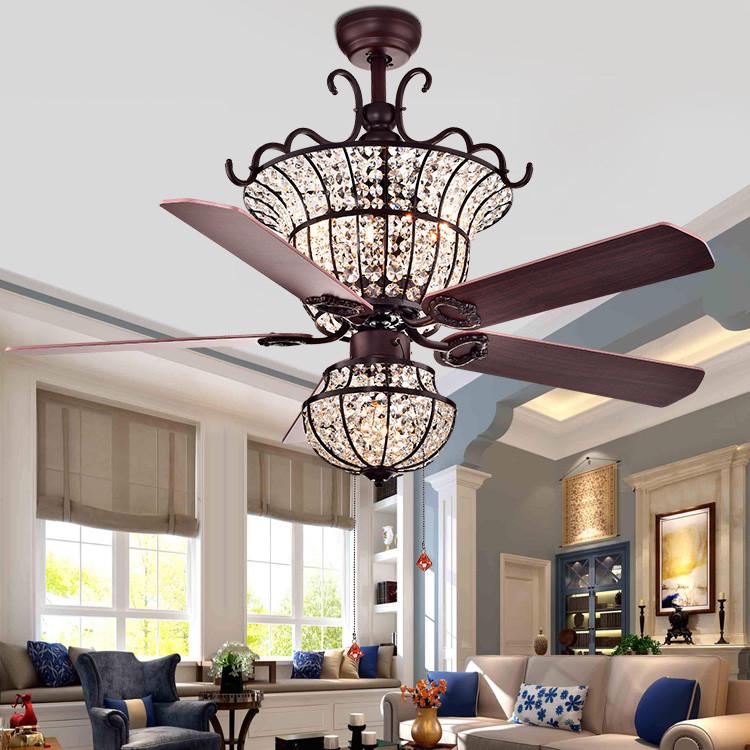 跨境专供水晶吊扇灯欧式客厅静音风扇灯美式餐厅LED风扇吊灯