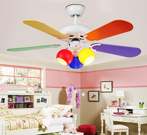 科佰实迷你卡通风扇灯 现代简约装饰灯电扇灯 彩色卧室儿童吊扇灯