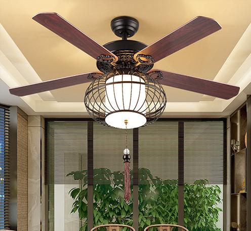 新中式风扇灯 餐厅客厅茶楼会所灯笼吊灯 中国风卧室带led吊扇灯